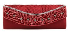 Scarleton Satin Clutch with Beads and Crystals H3095