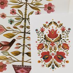 Folk art inspired by traditional Romanian tapestries and embroideries. Floral Embroidery Patterns, Folk Embroidery, Learn Embroidery, Machine Embroidery, Embroidery Designs, Embroidery Tattoo, Antique Quilts, Pattern Art, Surface Pattern