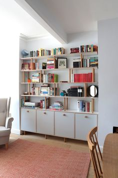 Lozi - Bespoke Plywood Furniture - Made to Measure Storage - Lozi – Bespoke Plywood Furniture – Hand Made in Hackney, East London - Plywood Wall Paneling, Plywood Bookcase, Plywood Storage, Bookshelf Wall, Office Furniture Design, Living Furniture, Furniture Making, Plywood Furniture, Furniture Plans