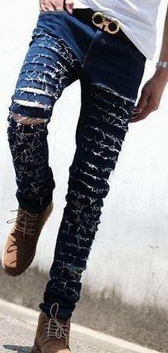 Ripped Skinny Jeans For Men, Black, Blue, Size 27 - 36