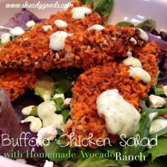 Buffalo Chicken Salad and Avocado Ranch Dressing https://www.facebook.com/pages/Skinny-Body-Care-with-John-Tran/649794418420816