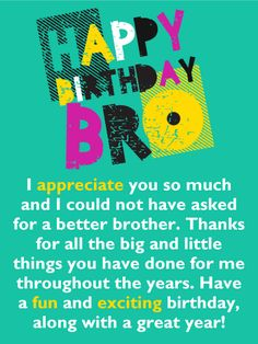 happy birthday card for brother this colorful birthday card will add excitement to your brothers special day it features festive lettering that form the