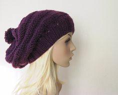 Purple Beanie Hat, Chunky Slouchy Hat