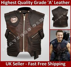 Mens 'HAWKEYE' The Avengers Jeremy Renner Barton Motorcycle Leather Vest Jacket