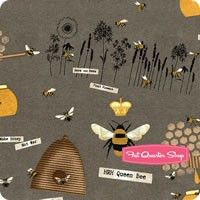 Save Our Bees Gray Tossed Bee Motifs Yardage <br/>SKU