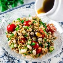 Spelt Salad with Navy Beans, Cherry Tomatoes and Cucumber - Olivia's Cuisine