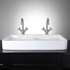 This is it!!! I love the double sink for a small master bath idea! Hamal Rectangular Double-Bowl Vessel Sink, how genious!