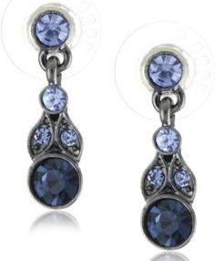 """1928 Jewelry """"Simplicity"""" Hematite-Color and Sapphire-Color Drop Earrings - Jewelry For Ladies Blue Drop Earrings, Women's Earrings, Chandelier Earrings, 1920s Jewelry, Antique Jewelry, Vintage Jewelry, Earring Display, Jewellery Display, Sapphire Color"""