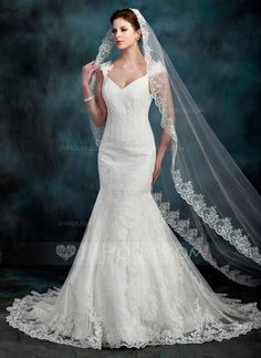 Trumpet/Mermaid Sweetheart Chapel Train Satin Tulle Wedding Dress With Lace Beading (002000630) - JJsHouse