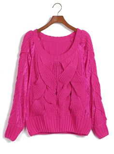 Rose-red Lace Crochet Twist Cross Knit Sweater  ($39, originally $46.8) http://www.udobuy.com/goods-12731.html#.UhMv2NL8m9M