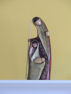 """Wooden Nativity set from Ecuador, Holy Family, Nativity scene 11.5"""" tall"""
