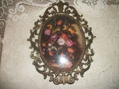 Vintage fancy brass frame floral bouquet by FabulousFinds1 on Etsy, $19.99