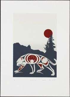 Mountain Lion (1986) by Susan Point, Coast Salish (Musqueam) artist (SP1986-04)