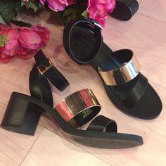 Zara Black Gold Chunky Heel Strappy Sandals New. Perfect super stylish summer sandals. Zara Shoes Sandals