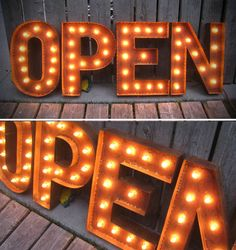 OPEN SIGN marquee lights with patina by littlefishdesigns on Etsy, $ 525.00 \\ I doubt anyone would wonder if we were open with this sign