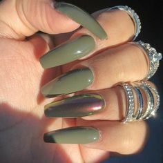 Ballerina Nails. Olive Green Nails. Fall Nails.