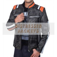 Jacket price starting from Retro Cafe Racer Classic Motorcycle Double Stripe Distressed Black Leather Jacket has been double stitched for extra durability. The jacket is made by hand using the finest genuine All Saints Leather Jacket, Distressed Leather Jacket, Leather Jackets For Sale, Black Leather, Biker Leather, Retro Cafe, Jackets Uk, Striped Jacket