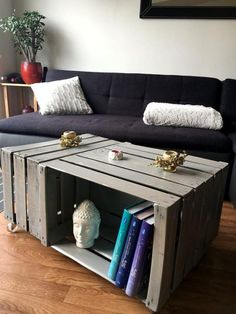 Coffee Table from 3 Wooden Crates