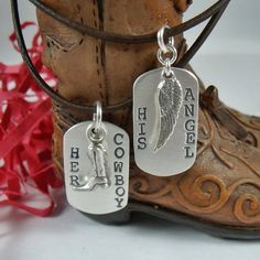 Dog tags with cowboys and angels engraved. My boyfriend and my song is cowboys and angels by dustin lynch and these would be perfect!
