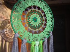 large dreamcatcher, doily dreamcatcher, mandala wallhanging, mandala art, green dreamcatcher, bedroom decor, nursery decor, valentines gift by earththingsmamalili on Etsy