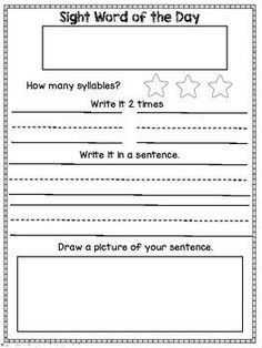 Freebie Kindergarten Morning Work Sample Sight Word Of The Day Worksheet Put Sight Words Kindergarten Word Work Kindergarten Morning Work Kindergarten Free Word of the day worksheet