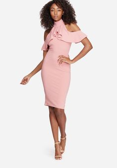 Take on your next night out in this beautiful bodycon dress. A cold-shoulder design, tight stretchy fit, high neck and ruffled complete the design. Pair yours with a crossbody bag and some lucite heels. Peplum Dress, Bodycon Dress, No Frills, Night Out, Tights, Crossbody Bag, Cold Shoulder Dress, Heels, Fit