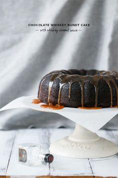 Chocolate Whiskey Bundt Cake with Whiskey Caramel Sauce