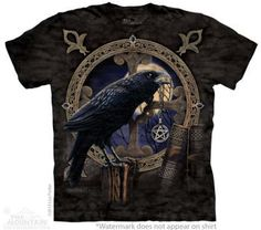 Cute Witchy Tee Shirts at Magical Omaha   Raven T-Shirt with The Talisman design by Lisa Parker 10-3826  SizesS-5XL  Free Continental US Shipping!