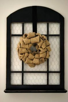 I've had this old window frame forever. I finally decided to upcycle it: I painted it black and distressed it: Added some chi. Burlap Bubble Wreath, Burlap Wreath, Chicken Wire Frame, Wood Windows, Wire Crafts, Just In Case, Diy Projects, Crafty, Shutters