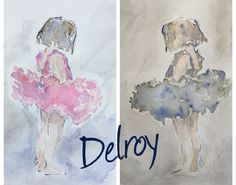 DelroY acuarela estudios serie Little dancers in different colour.