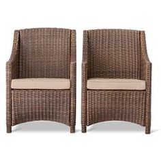 Traditional with modern lines, this Belvedere Dining Chair 2-Pack from Threshold is the patio update you've been searching for. Featuring a weather-resistant and fade-resistant construction, this all-weather wicker outdoor armchair set includes 2 solution-dyed polyester chair cushions in your favorite hue. To maintain this set's beauty, wipe clean with a damp cloth.