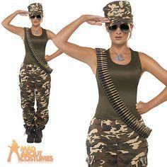 Army Girl Costume Khaki Camo Soldier Uniform Fancy Dress Outfit Womens 4 - 18