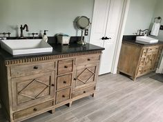 This space required a customized solution, and L & K Designs rose to the challenge! Two different sizes of vanity cabinets from the Lancaster Collection provided the bases, and one was fitted for an off-set sink. Bathroom Vanity, Rustic Bathroom, Bathroom Renovation, Master Bathroom Design, Bathroom Top, Vanity, Vanity Sink, Furniture Styles, Bathroom Furniture