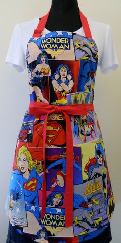 haha Comics Apron Wonder Woman Super Girl Bat Girl. $20.00, via Etsy.
