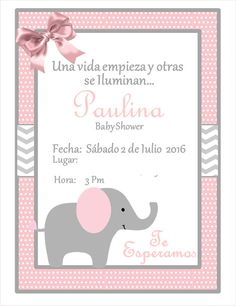 Pink Elephant Chevron Baby Shower Invitation Pink Grey Instant