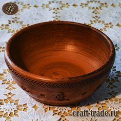 Керамическая миска Старорусский оберег (салатник) 0,6 л - гончарная лощеная керамика ручной работы, молочный обжиг из натуральной глины, экологически чистая посуда для детского и диетического