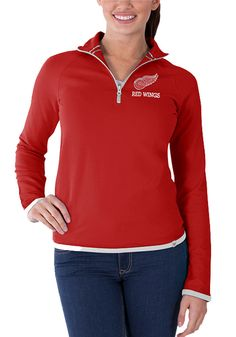 Detroit Red Wings Womens Red Showdown 1 4 Zip Pullover - Detroit Game Gear  has 3a304940b