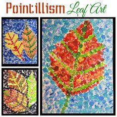 Pointillism fall leaf art inspired by Seurat. Impressionism and painting for kids September Art, Fall Art Projects, School Art Projects, Halloween Art Projects, Kindergarten Art, Preschool Art, Autumn Art Ideas For Kids, 2nd Grade Art, Pointillism