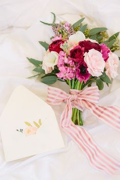 Hand tied bouquet and Rifle card | Kerinsa Marie Photography & Violet Floral Design | see more on: http://burnettsboards.com/2014/04/sweetest-anniversary-surprise/