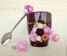 Clay Jar, Clay Mugs, Porcelain Clay, Cold Porcelain, Polymer Clay Recipe, Cute Mug, Cozy Kitchen, Clay Food, Flower Applique