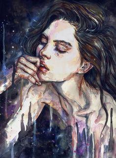 """rexisky: """"INSOMNIA (Acrylic and Watercolor on Paper) by Lesya Poplavskaya """""""
