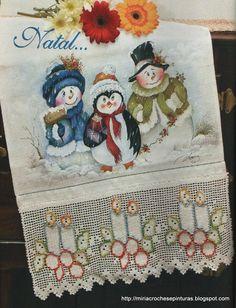 Mais alguns modelos de pintura e crochê com motivos de Natal.