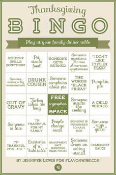 Thanksgiving Bingo for Your DinnerTable