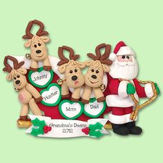 Santa & Reindeer Family of 4 HANDMADE POLYMER CLAY Personalized Christmas Ornament
