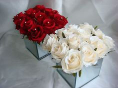 Small Red or Cream Rose in Mirrored Cube Wedding Table Centrepiece | eBay