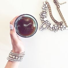 Coffee time with a dash of sparkle ✨ Iced Coffee, Coffee Time, Arm Party, Vsco Grid, Gemstone Rings, Minimal, Sparkle, Instagram Posts, Jewelry