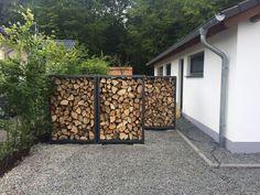 Pin by britta jonas on Tuin in 2019 Outdoor Firewood Rack, Firewood Shed, Firewood Storage, Outdoor Sheds, Outdoor Spaces, Outdoor Decor, Patio Pergola, Backyard, Outside Living