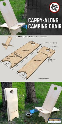 "Carry-along Wooden Camping Chair ""I've been through the gambit of store-bought collapsible chairs to bring along on my canoe trips and none of them have really grabbed me, until I came up with this one. I ran across a photo of a two-piece chair similar to Woodworking Projects Diy, Woodworking Furniture, Diy Wood Projects, Furniture Plans, Teds Woodworking, Wood Crafts, Diy Furniture, Woodworking Classes, Popular Woodworking"
