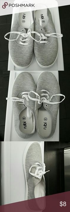 Rubi gray sneakers It's a brand sold in Cotton on stores. It's light gray. Tried but never worn around or out. Size appears to be smaller than a US 10 probably more of an 8 1/2 to 9 1/2 rubi Shoes Sneakers