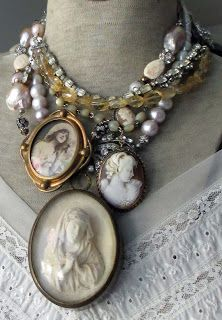Vintage Jewelry Crafts The French Circus: Girls and Pearls Vintage Jewelry Crafts, Funky Jewelry, Recycled Jewelry, Antique Jewelry, Handmade Jewelry, Irish Jewelry, Vintage Jewellery, Cameo Jewelry, Jewelry Art